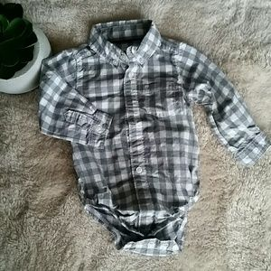 Buffalo check baby boy dress onesie